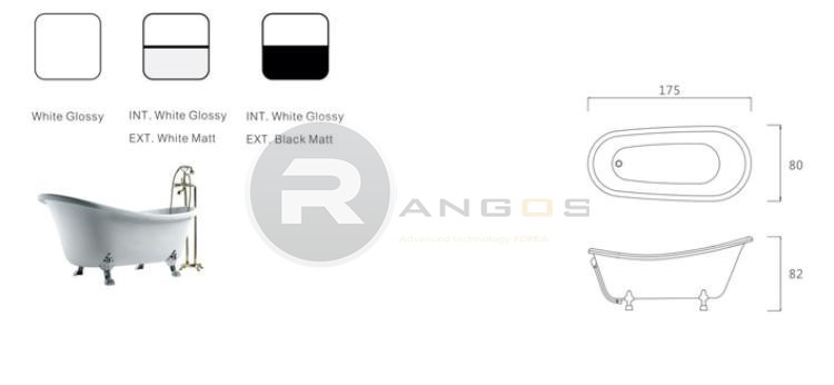 Bản vẽ kỹ thuật bồn tắm Rangos RG-702